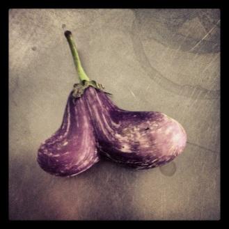 Cute double eggplant.